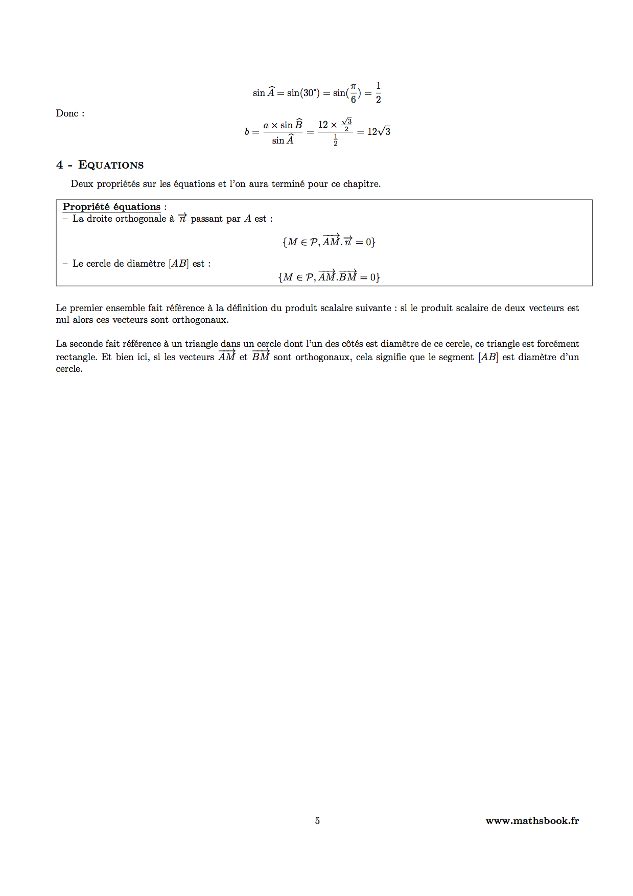 equations produit scalaire
