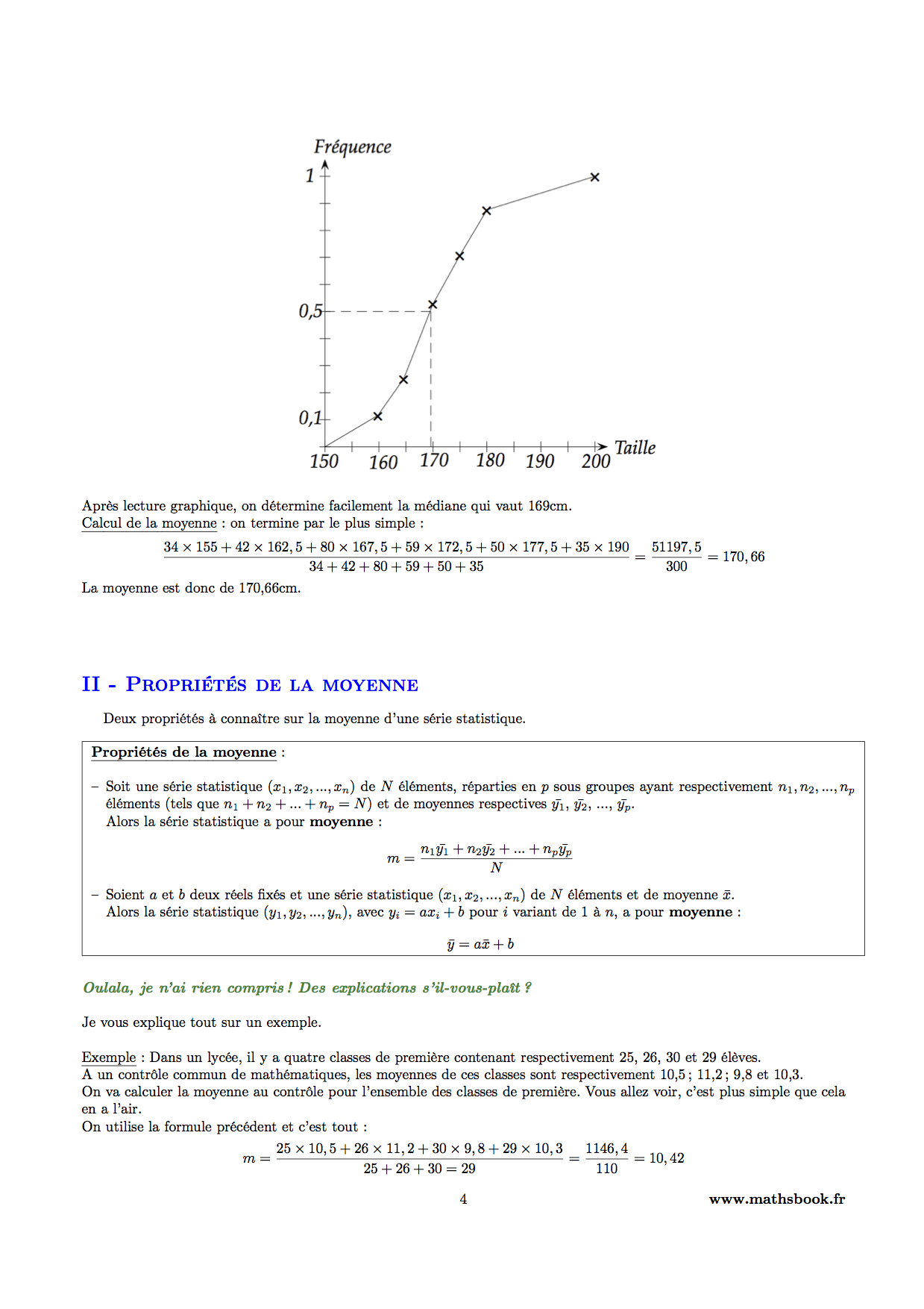 Statistiques : Cours PDF à imprimer | Maths première S