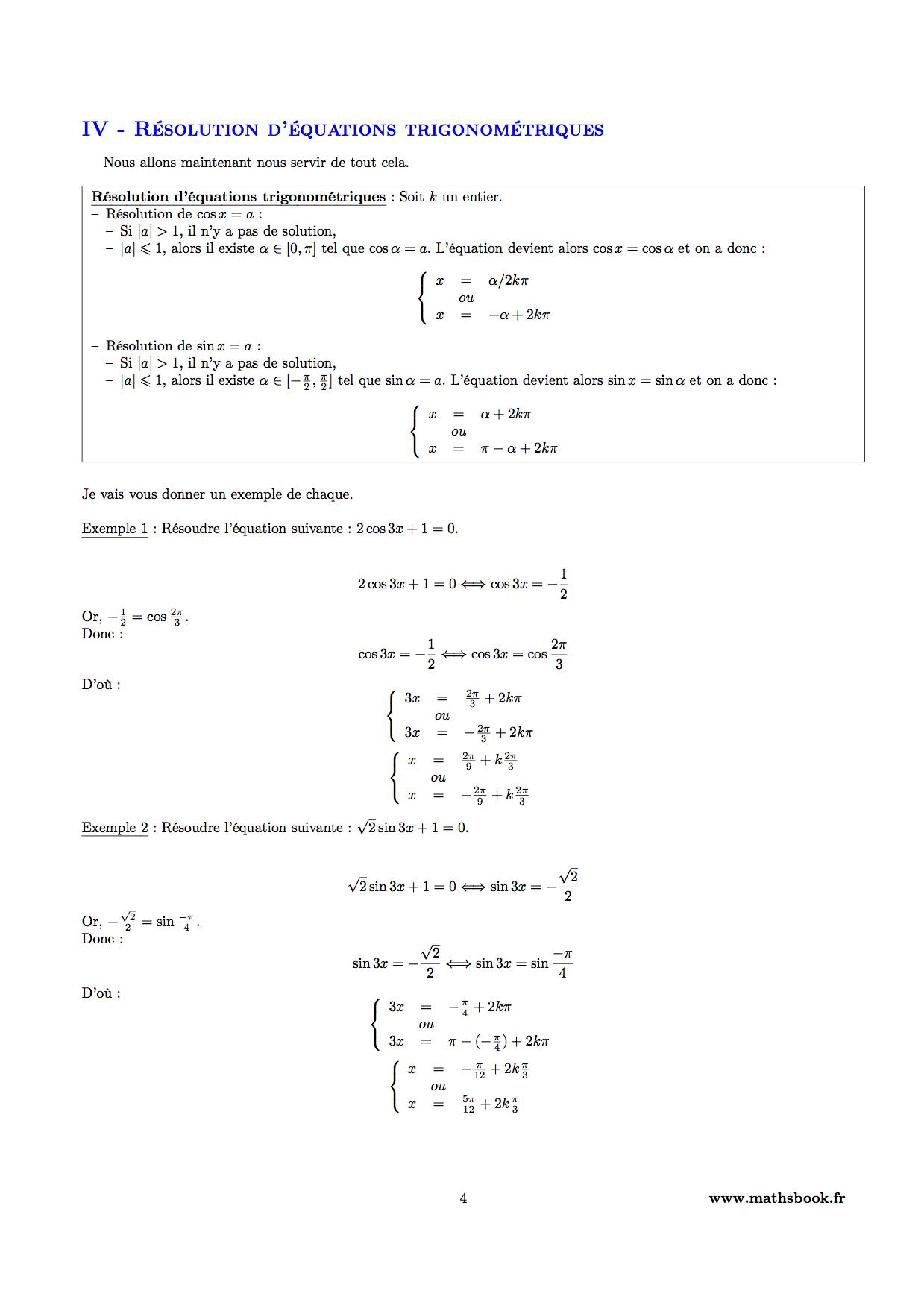 trigonometrie cours