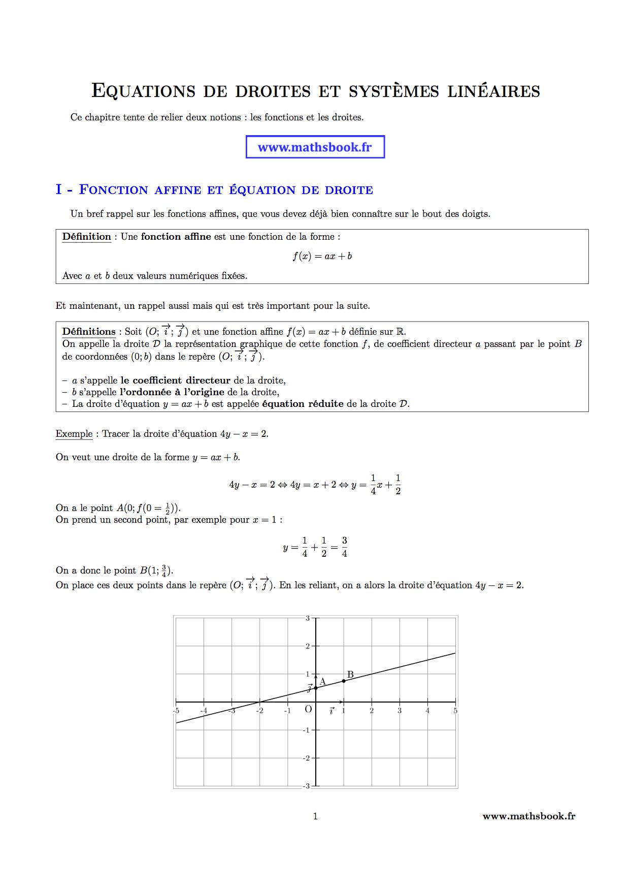 Maths équation de droites 2nde Mathématiques