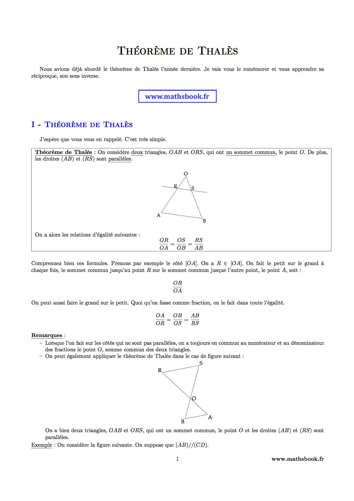 Théorème de Thalès : Cours PDF à imprimer | Maths 3ème