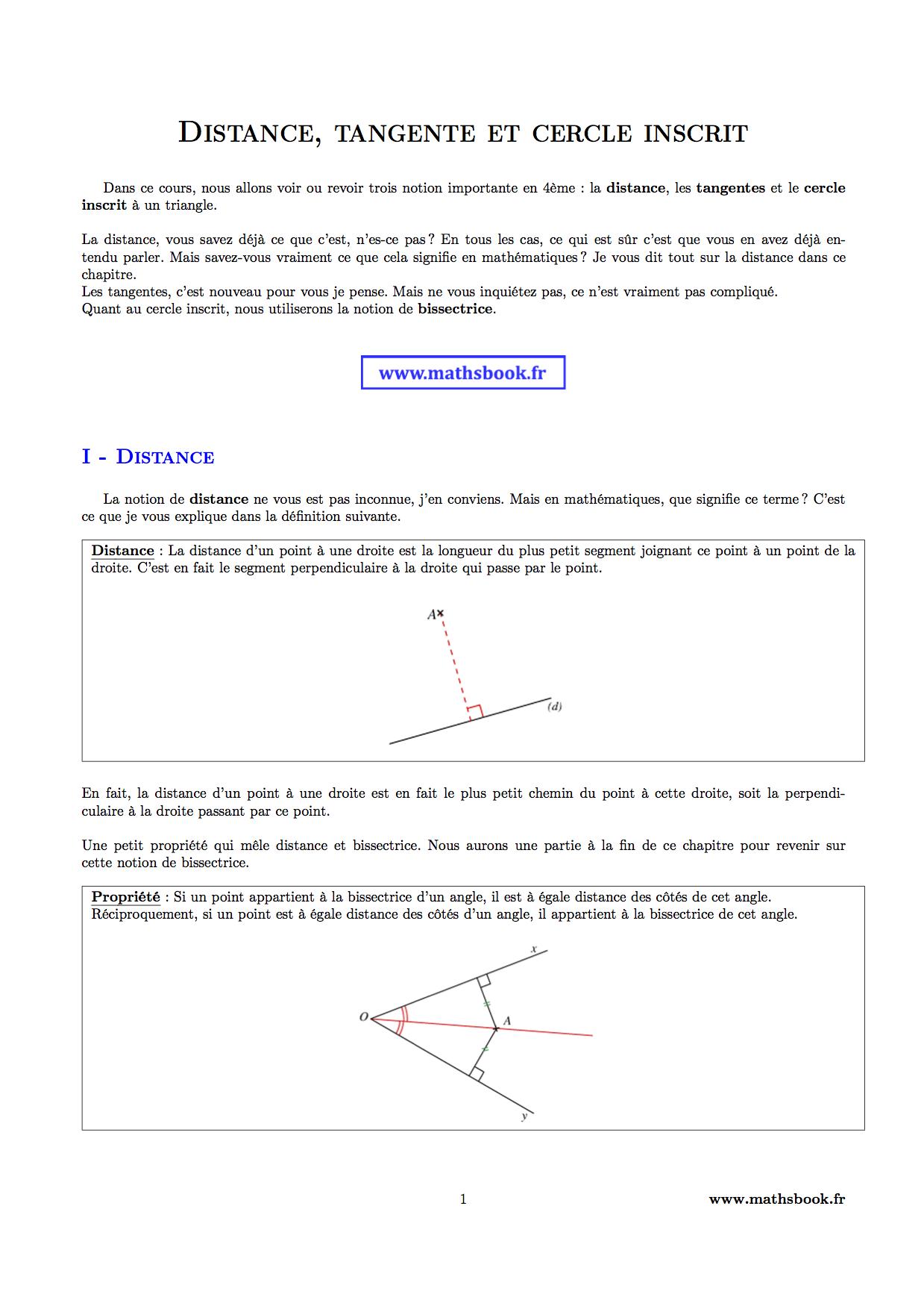 distance tangente et cercle inscrit cours pdf imprimer maths 4 me. Black Bedroom Furniture Sets. Home Design Ideas
