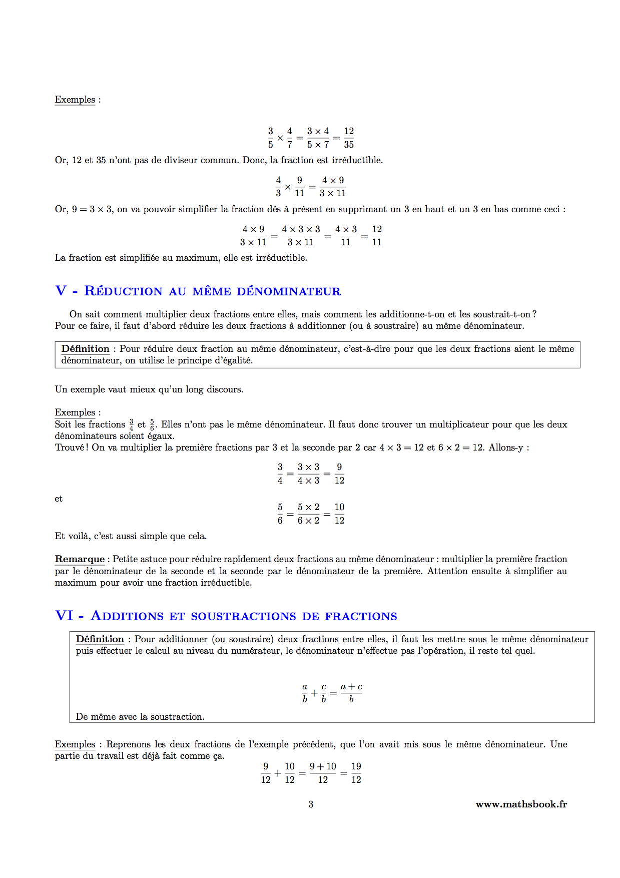 fractions reduction au meme denominateur