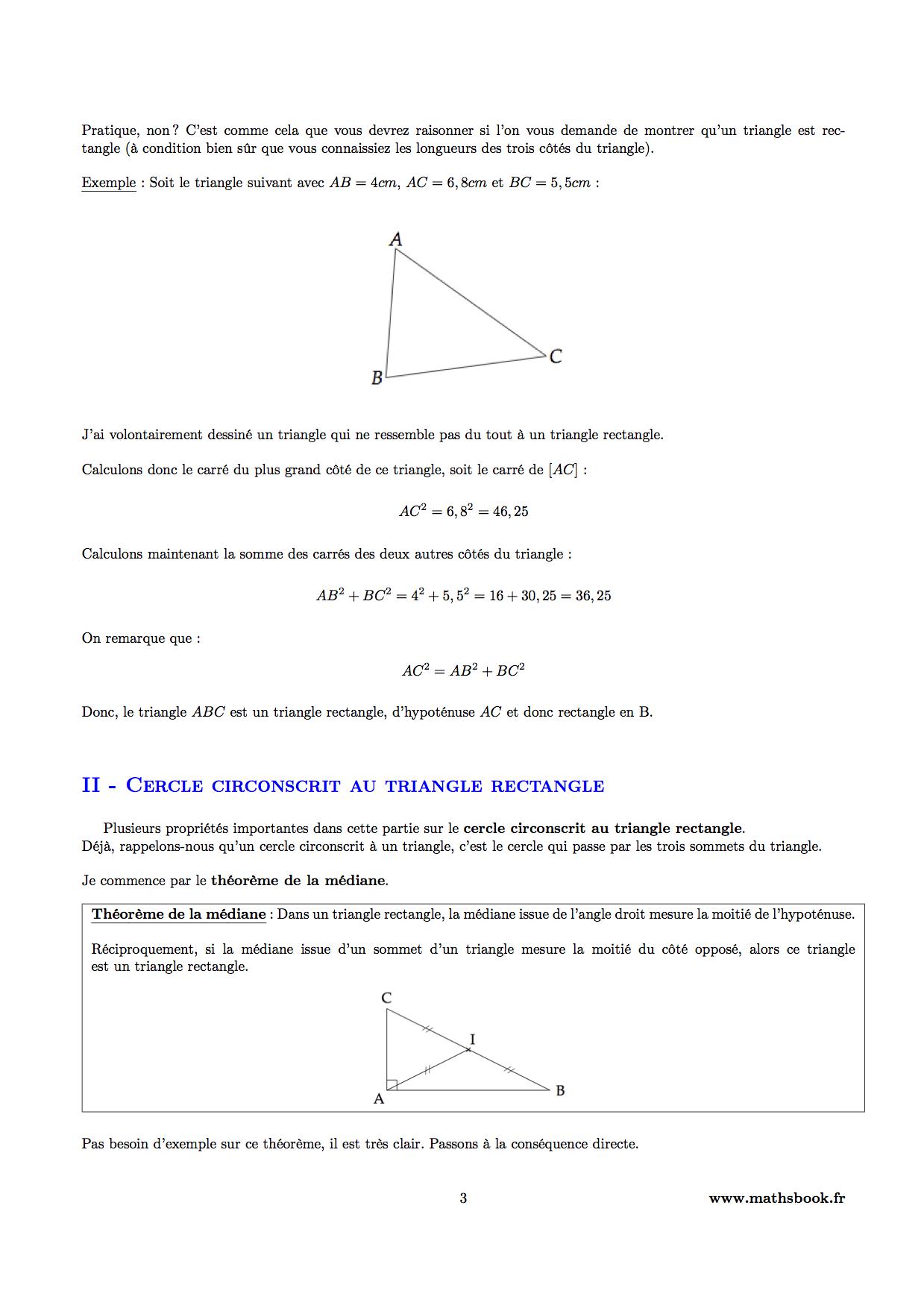 Triangle rectangle et théorème de Pythagore : Cours PDF à ...