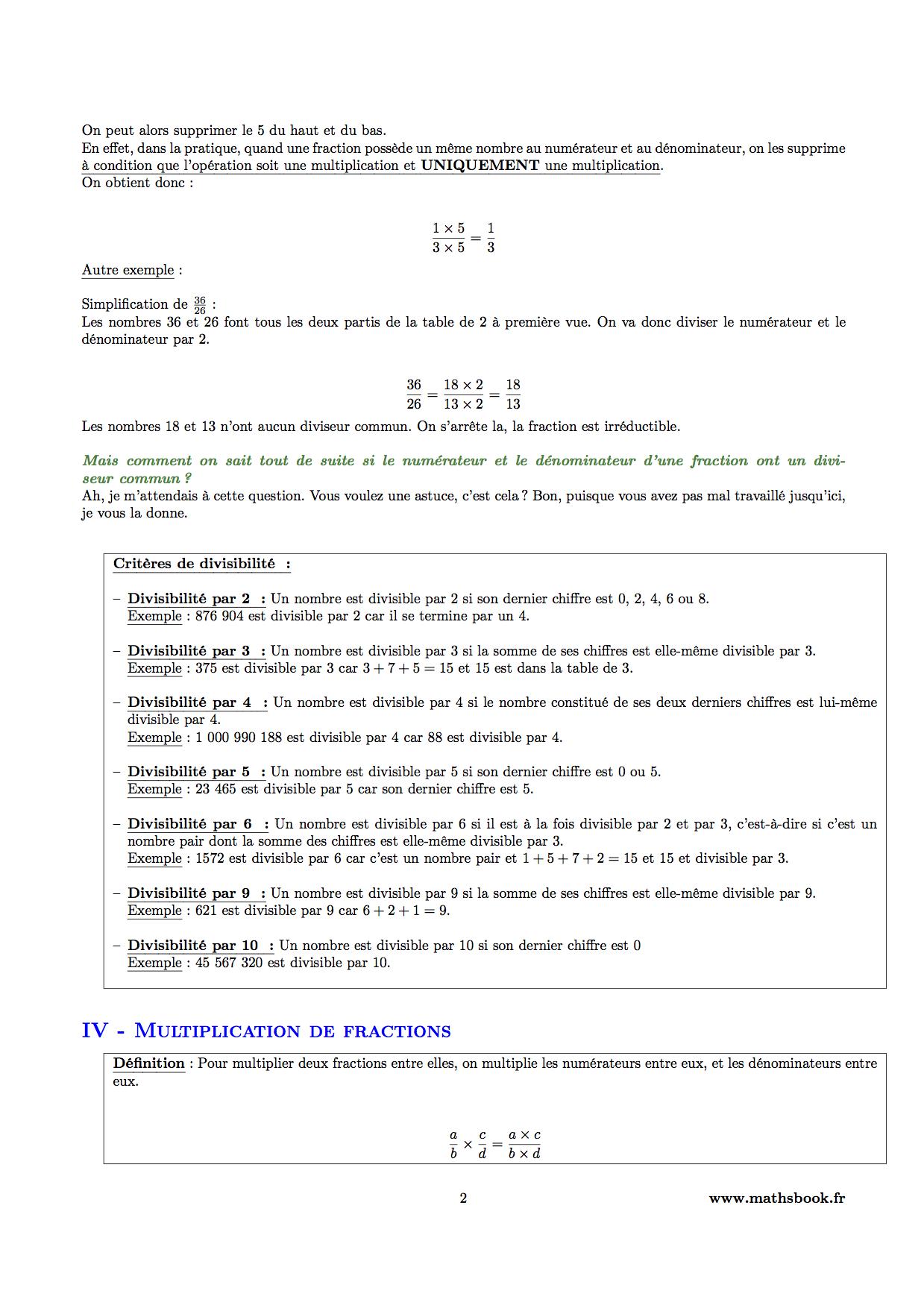Fractions : Cours PDF à imprimer   Maths 5ème