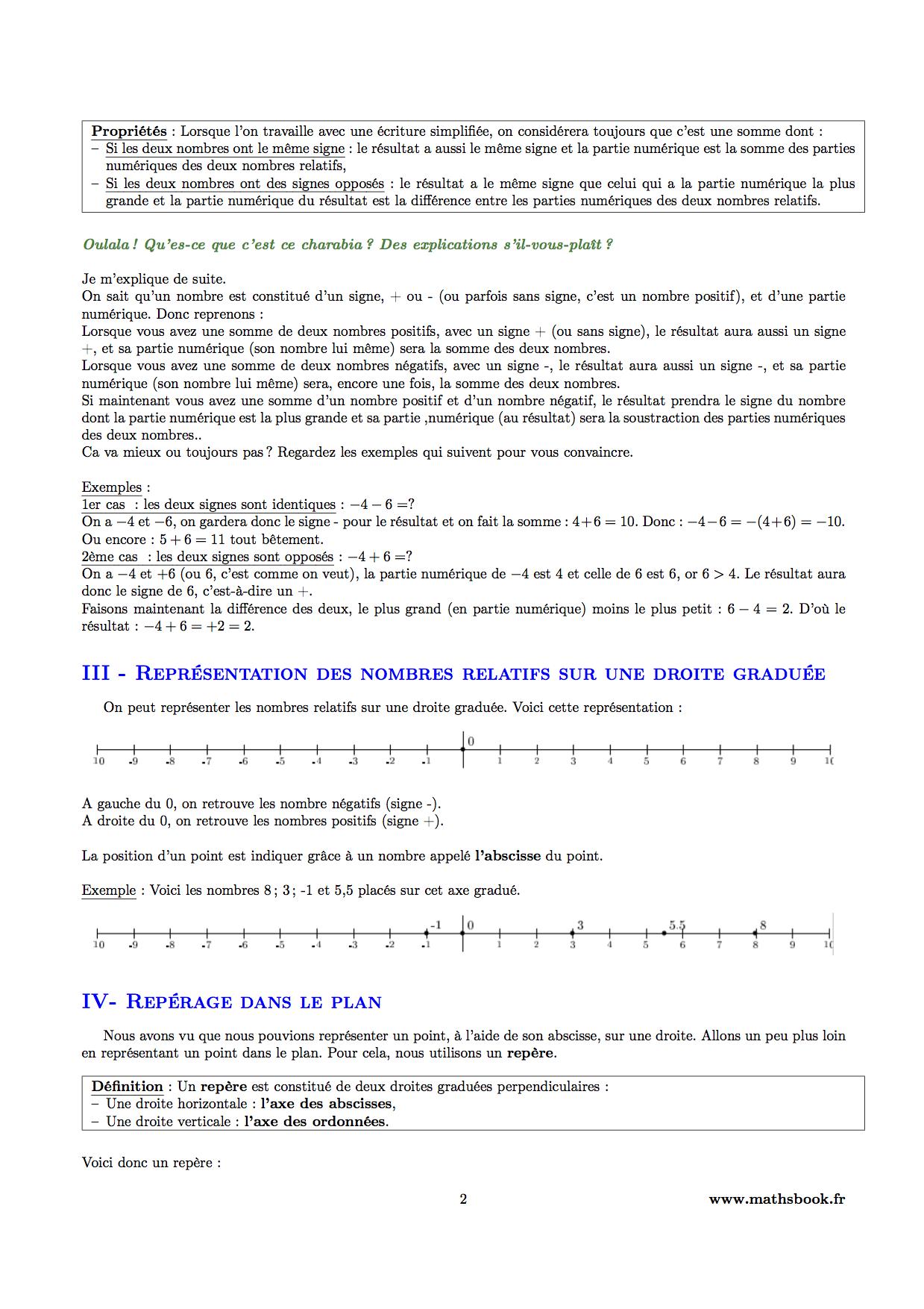 Nombres relatifs : Cours PDF à imprimer | Maths 5ème
