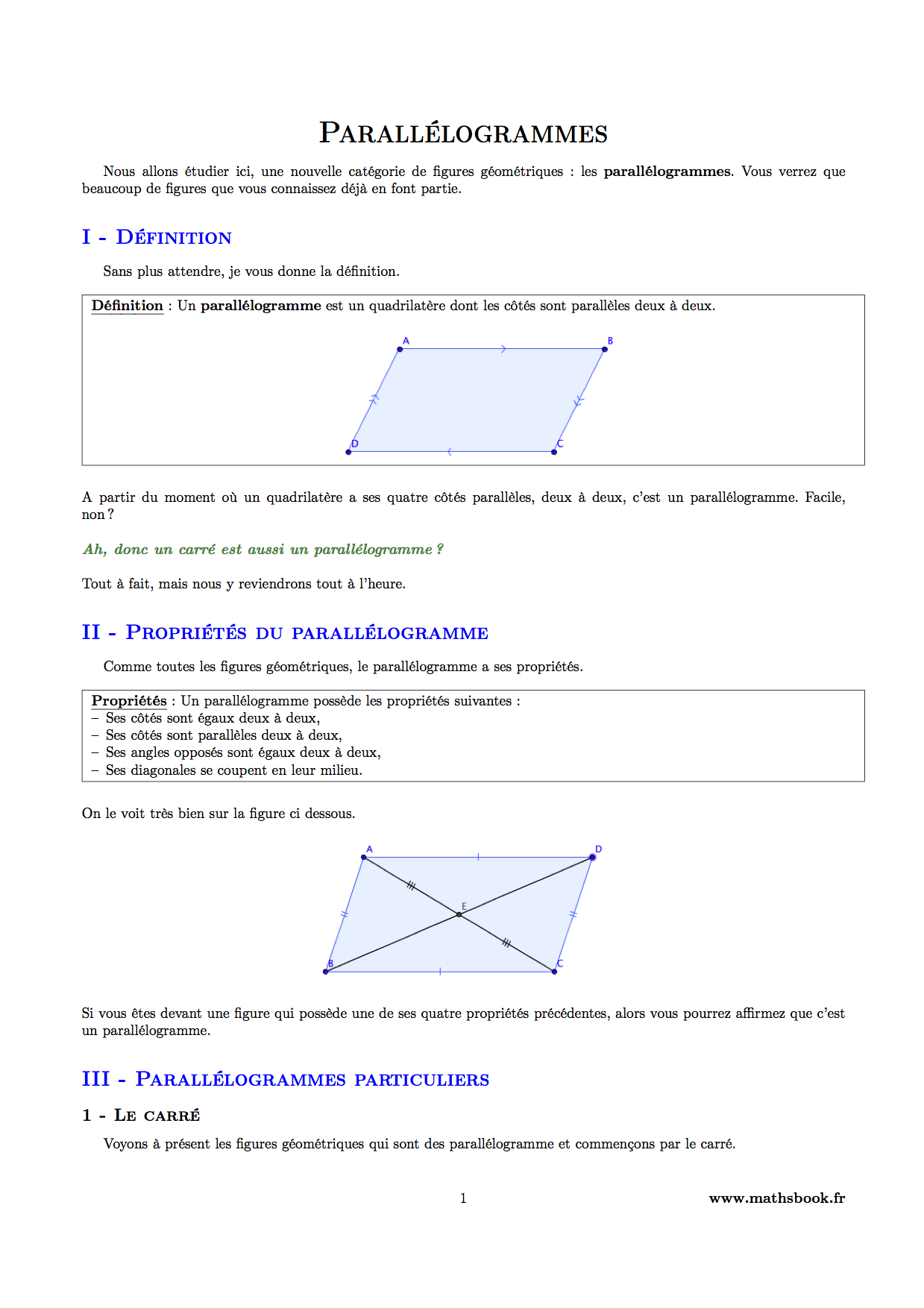 Exercices construction parall logramme 5 me for Cours de construction pdf