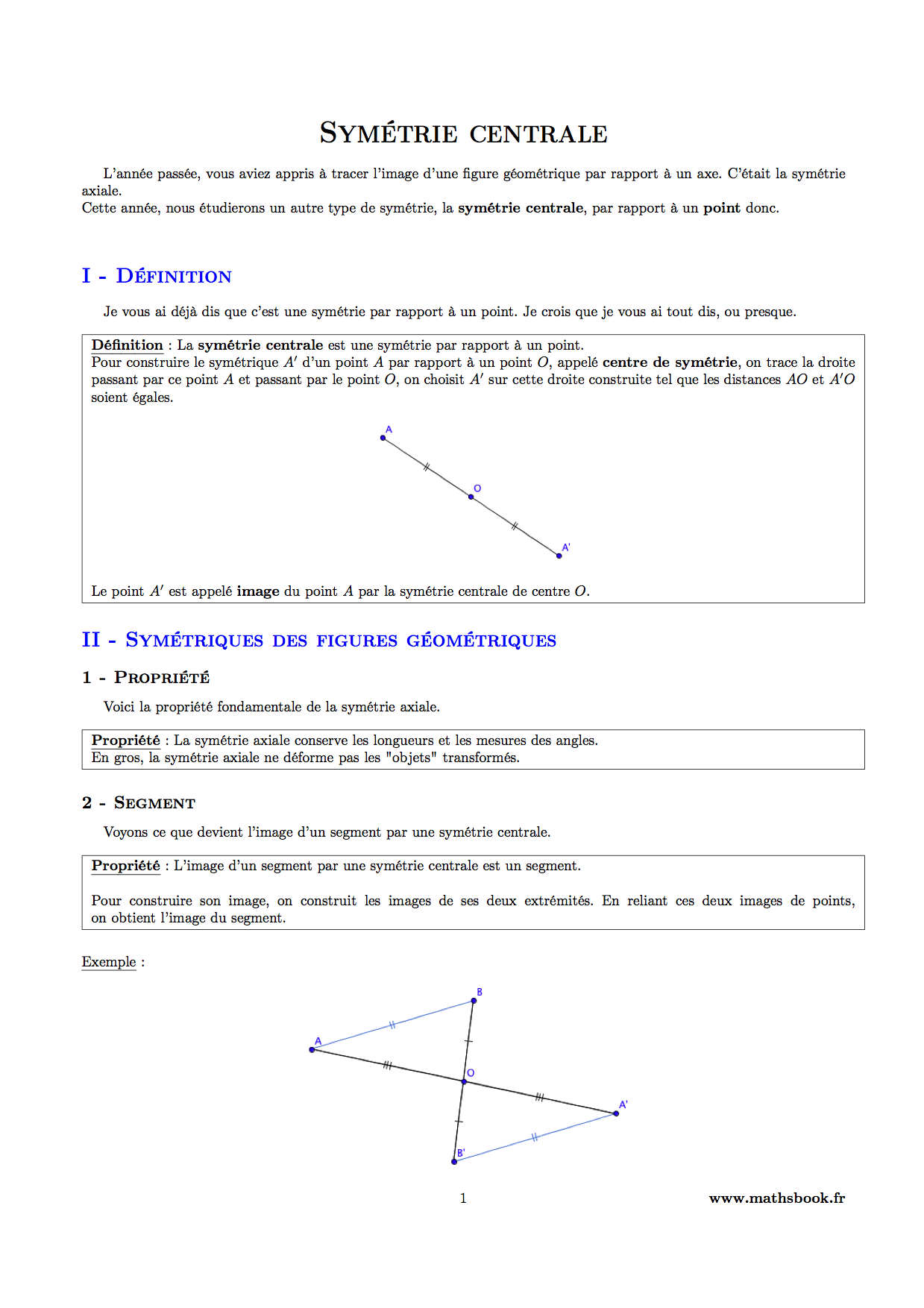 Sym trie centrale cours pdf imprimer maths 5 me - Symetrie a imprimer ...