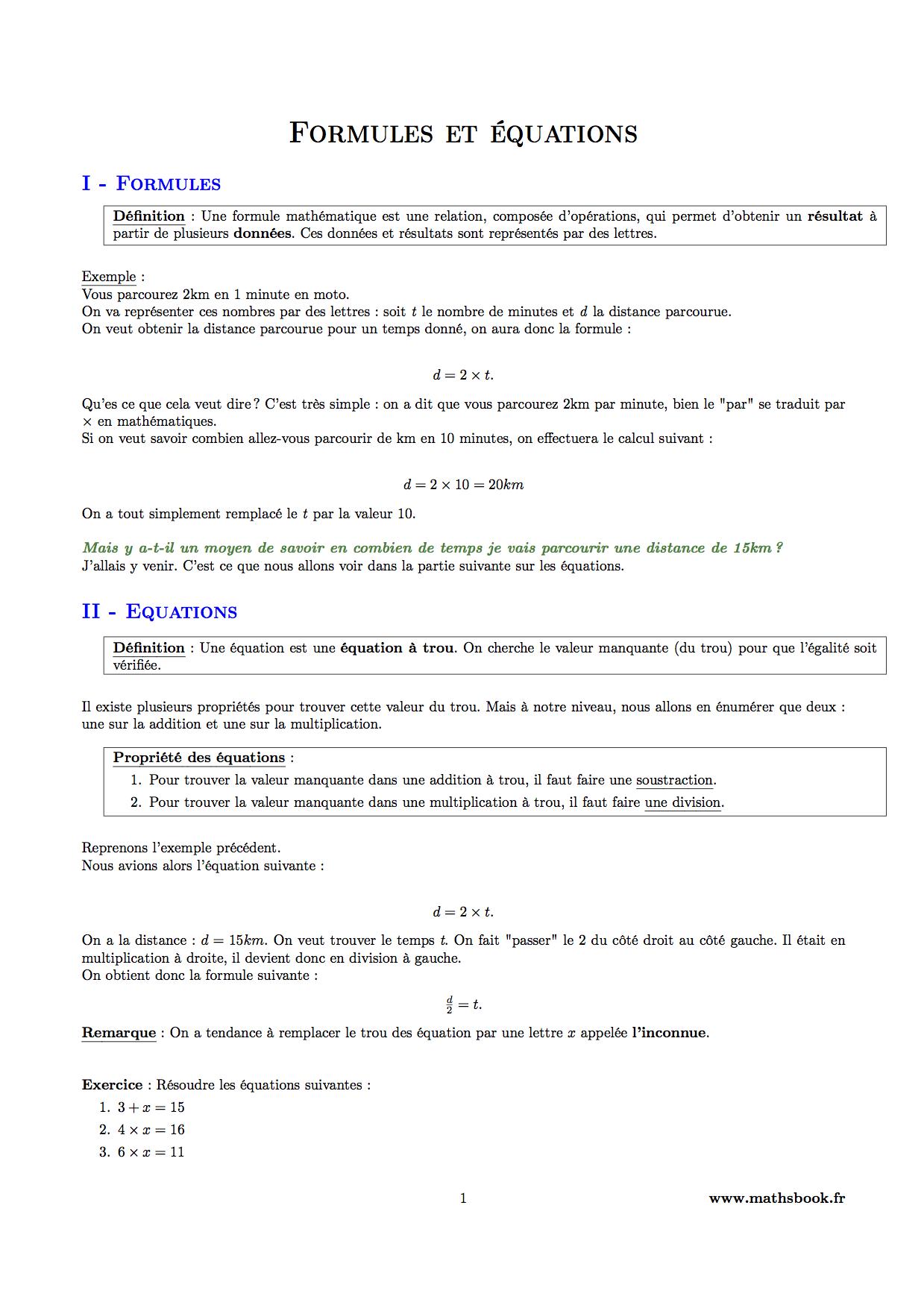 Formules et équations : Cours PDF à imprimer | Maths 6ème