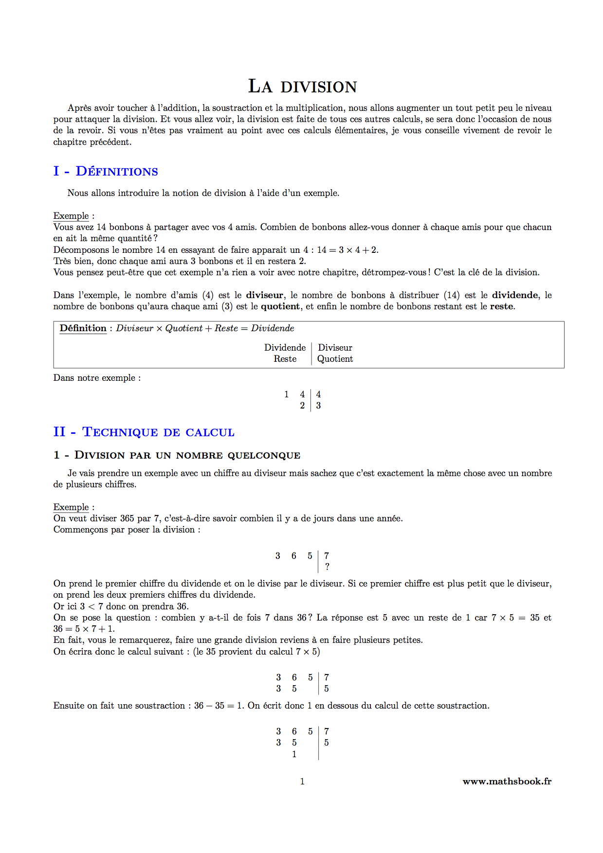 Division cours pdf imprimer maths 6 me - Division a imprimer ...