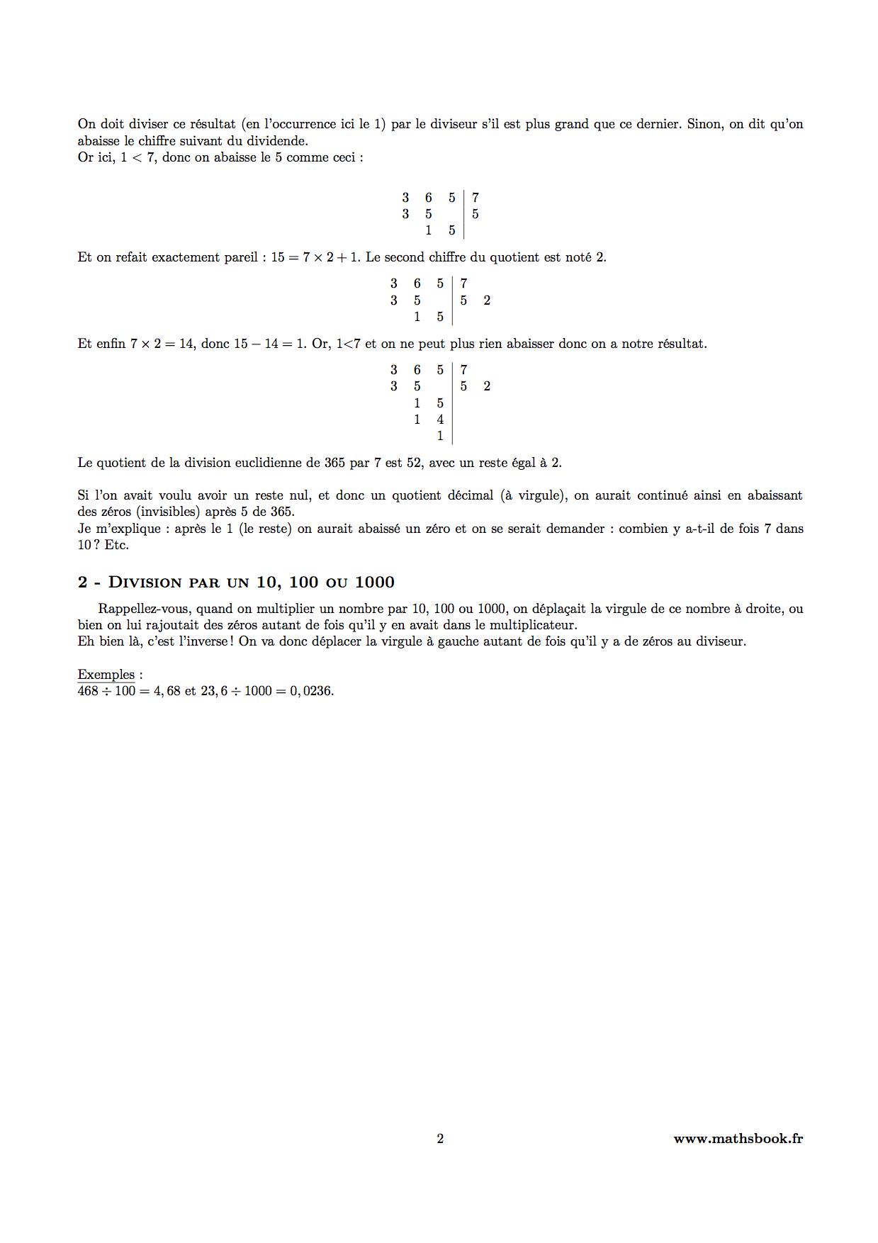 Très Division : Cours PDF à imprimer   Maths 6ème ZO39