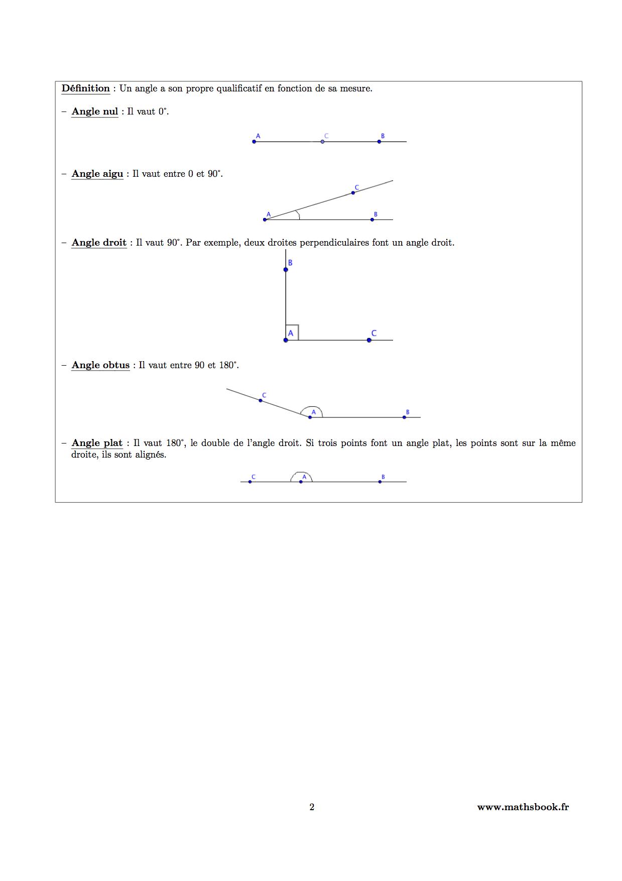 Très Angles : Cours PDF à imprimer   Maths 6ème ZO39