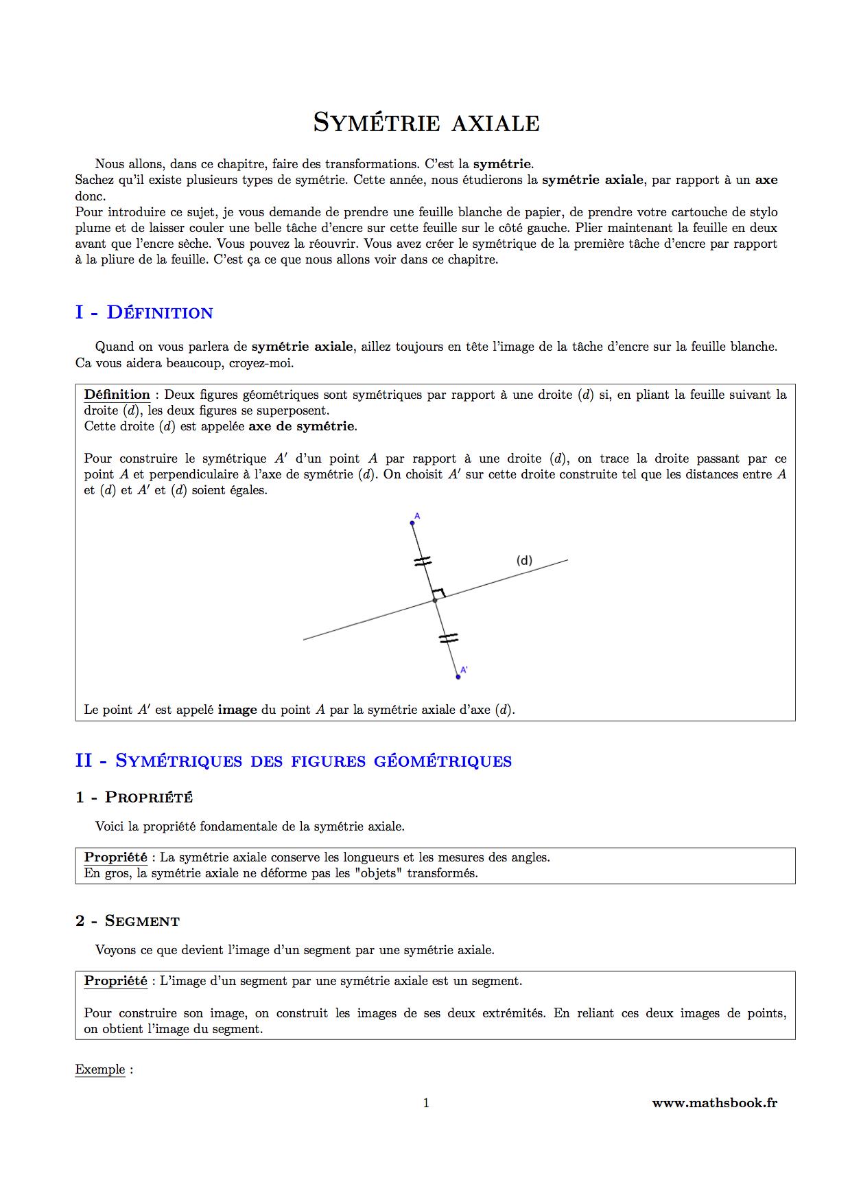 Préférence Symétrie axiale : Cours PDF à imprimer   Maths 6ème PF54