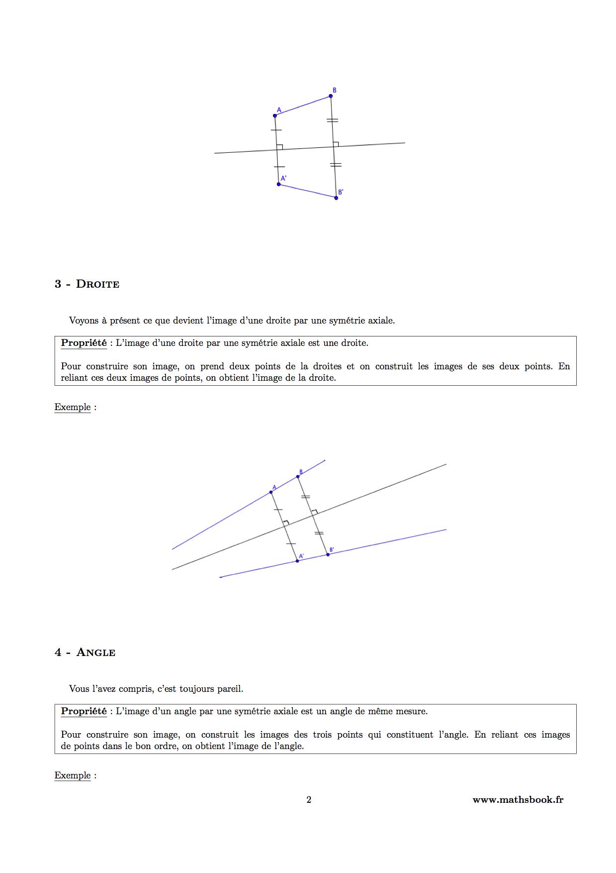 Très Symétrie axiale : Cours PDF à imprimer   Maths 6ème ZO39