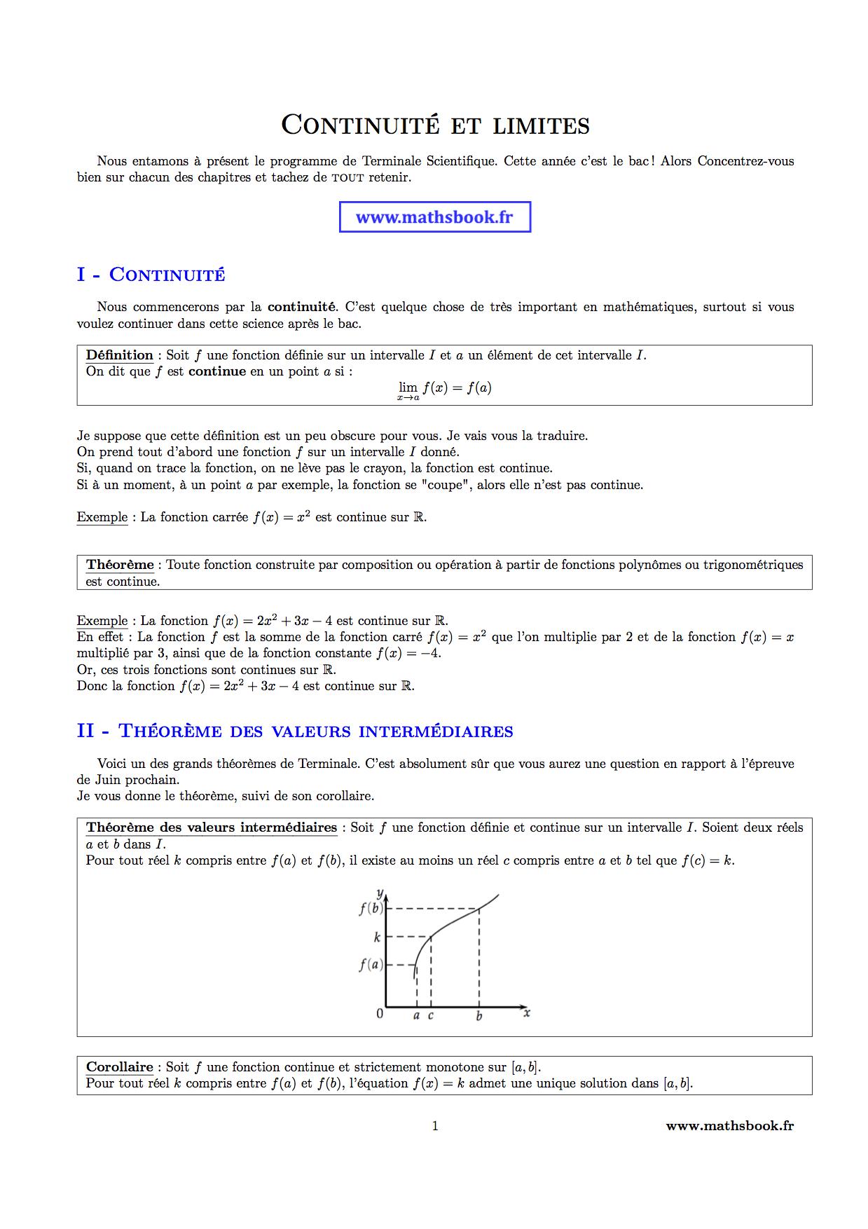 exercices théorème des valeurs intermédiaires terminale s pdf