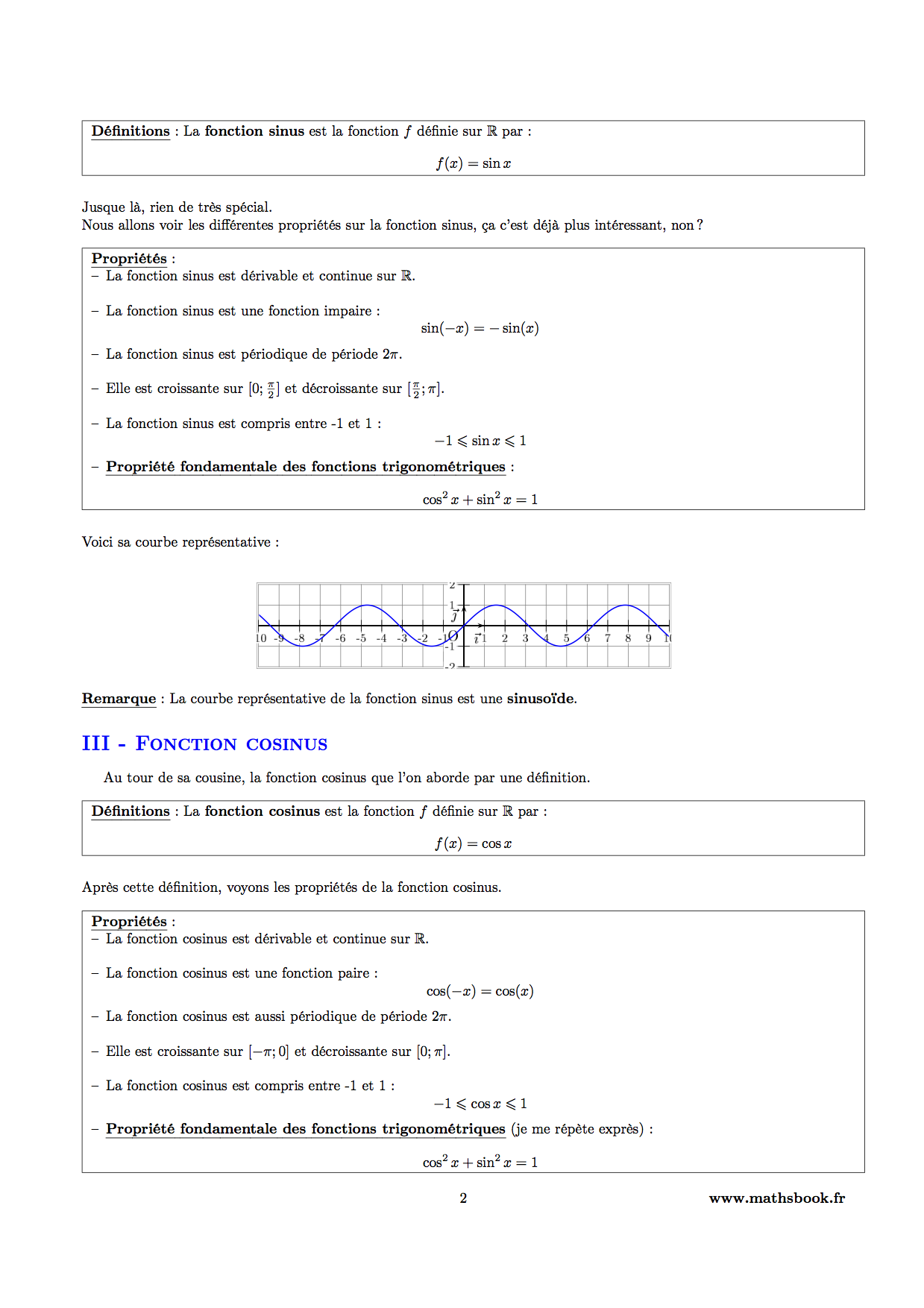 fonction sinus definitions et proprietes