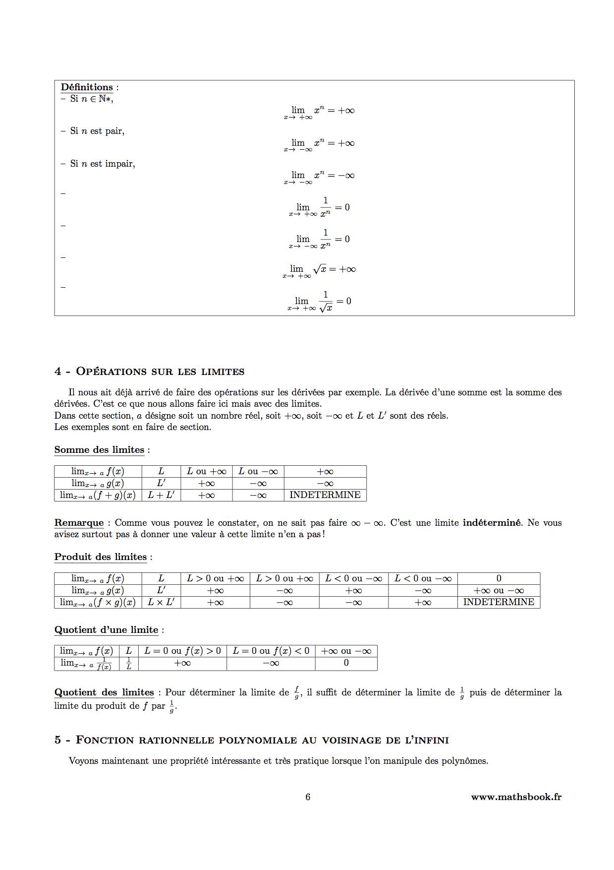 Limites de suites et de fonctions : Cours PDF à imprimer ...