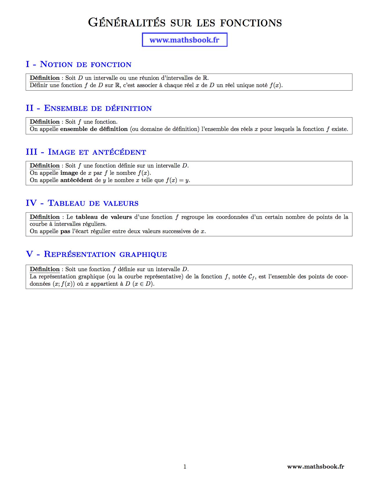Les fonctions de mathematique. 1ère Management