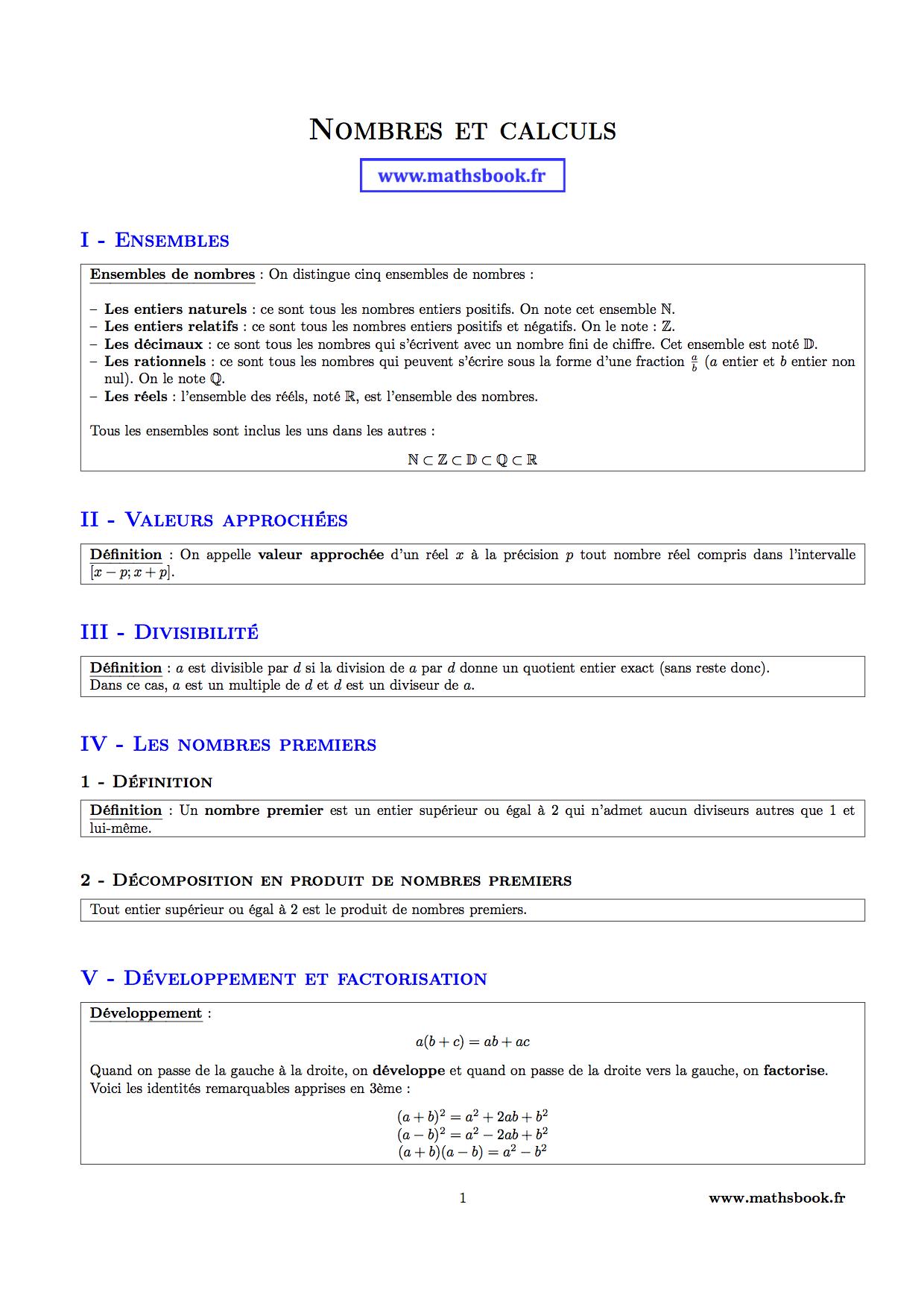 Calcul numerique 2nde 2nde Mathématiques