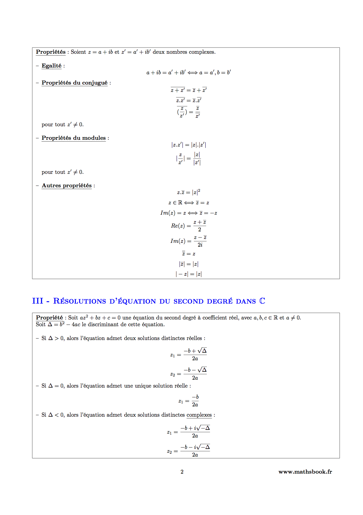 proprietes nombres complexes et resolution equations